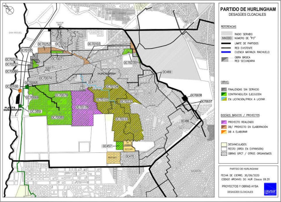 Mapa de obras de red cloacal en Hurlingham 2021-04